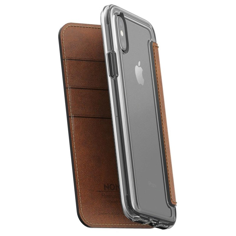 Nomad Clear Leather Folio iPhone X/Xs Bruin - 1