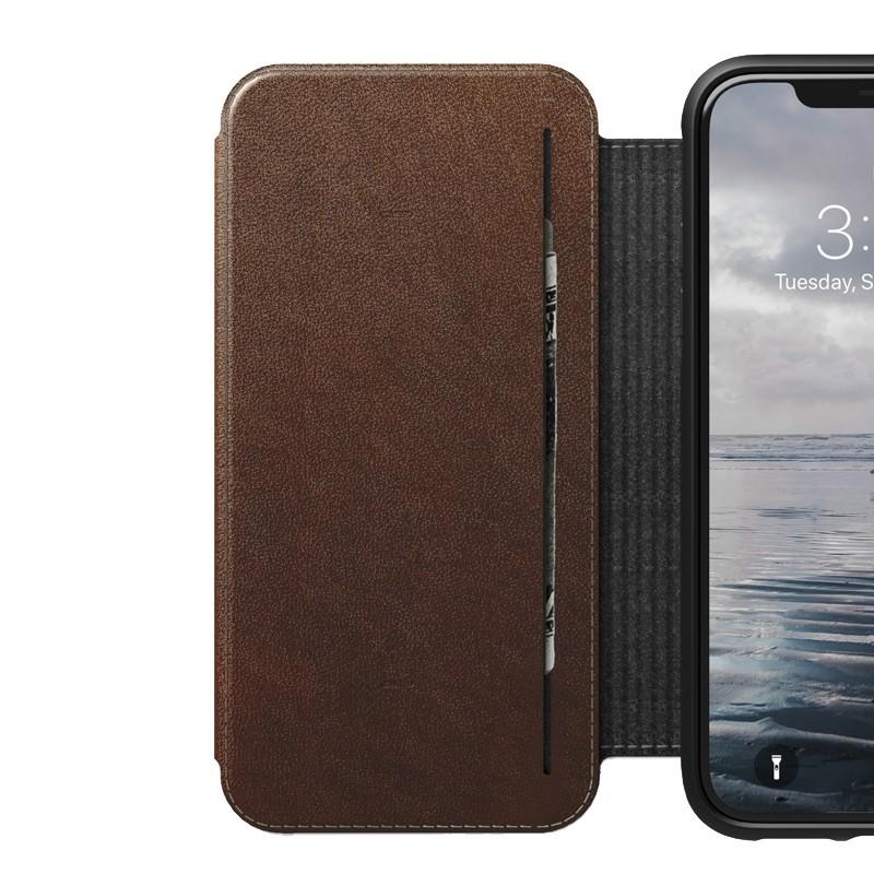 Nomad Rugged Tri-Folio Leather Case iPhone XS Max Bruin 04