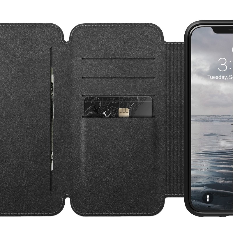 Nomad Rugged Tri-Folio Leather Case iPhone XS Max Bruin 05