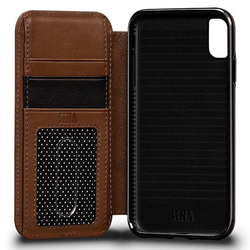 Sena Deen Walletbook iPhone XS Max Hoesje Saddle Brown 02