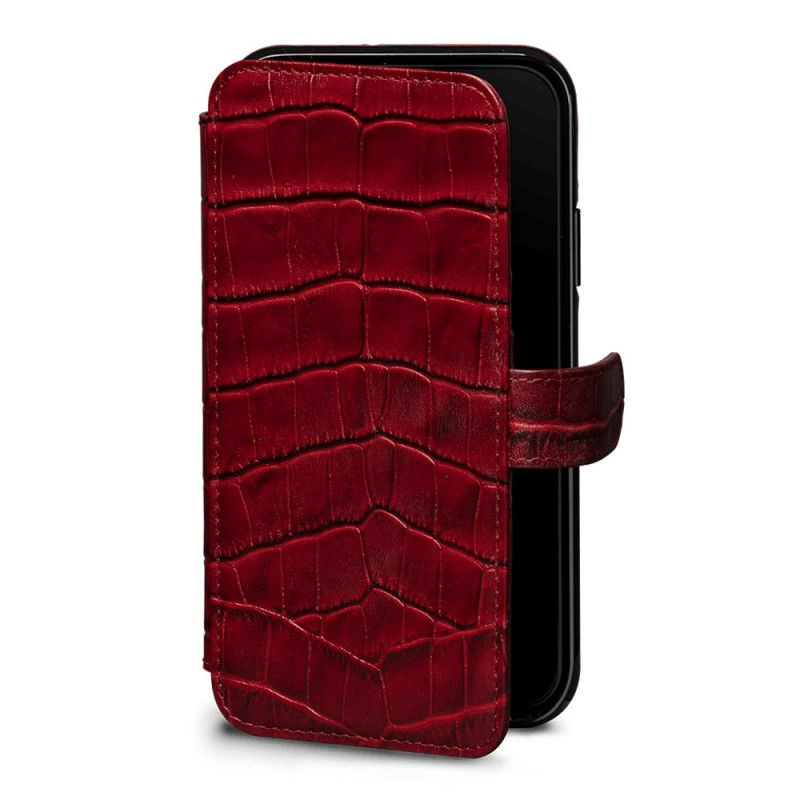 Sena Wallet Book Classic iPhone X/Xs Croco Rood - 1