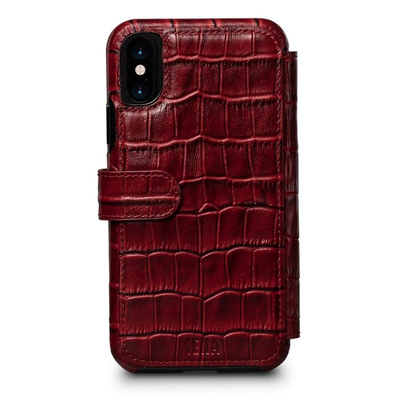 Sena Wallet Book Classic iPhone X/Xs Croco Rood - 2