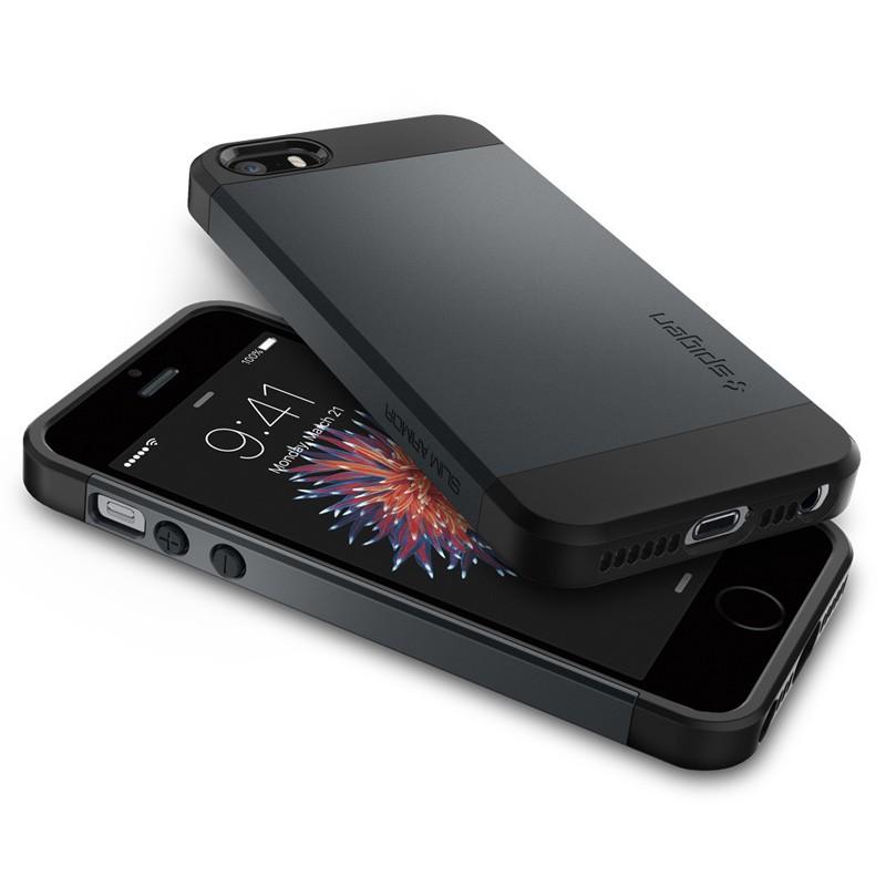 Spigen Slim Armor Case iPhone SE / 5S / 5 Metal Slate - 3