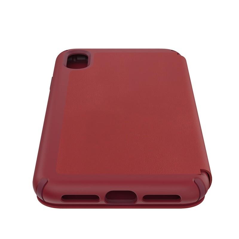 Speck Presidio Leather Folio iPhone XS Max Case Rood 03