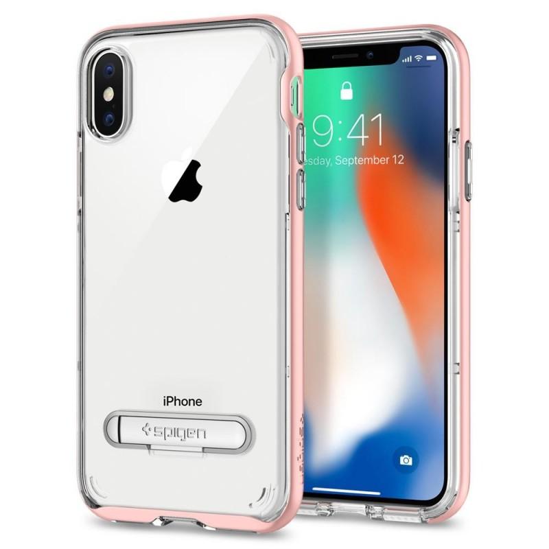 Spigen Crystal Hybrid iPhone X/Xs Hoesje Roze/Transparant - 1