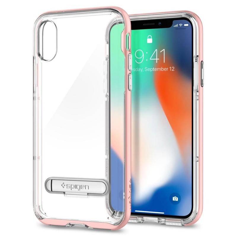 Spigen Crystal Hybrid iPhone X/Xs Hoesje Roze/Transparant - 2