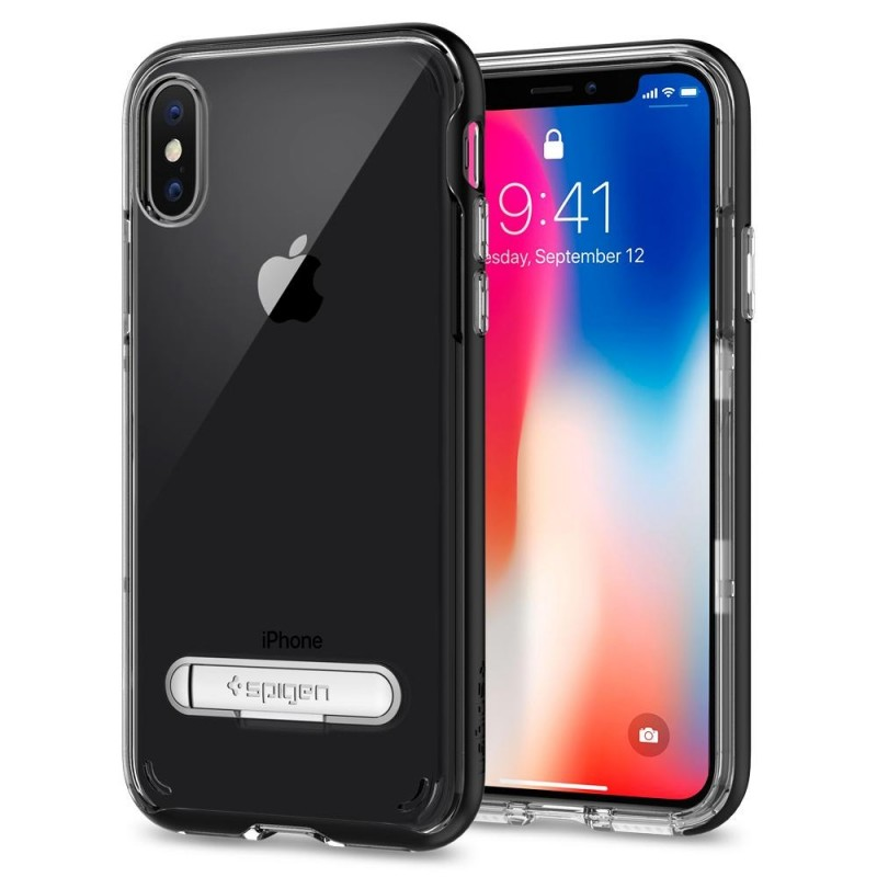 Spigen Crystal Hybrid iPhone X/Xs Hoesje Zwart/Transparant - 1