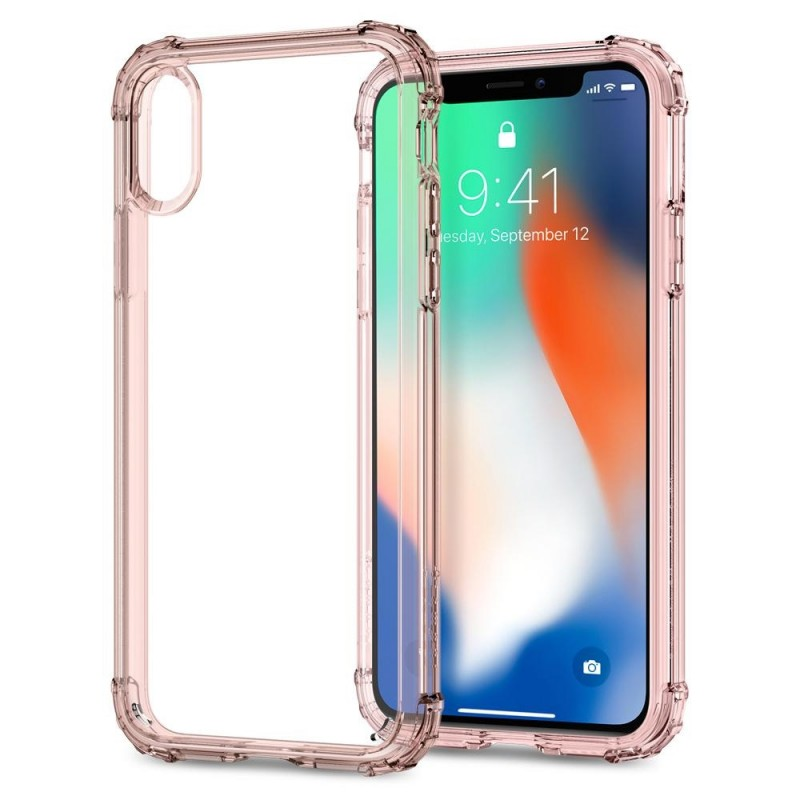 Spigen Crystal Shell iPhone X/Xs Hoesje Transparant/Roze - 2