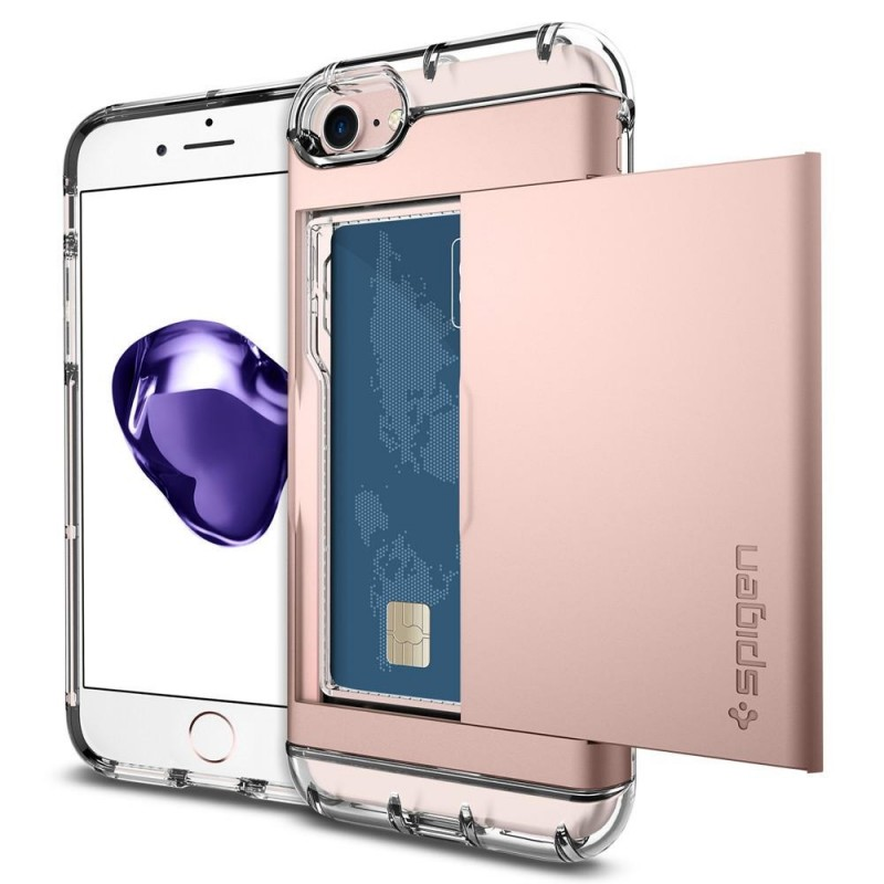 Spigen Crystal Wallet iPhone 8/7 Hoesje Rose Goud - 1