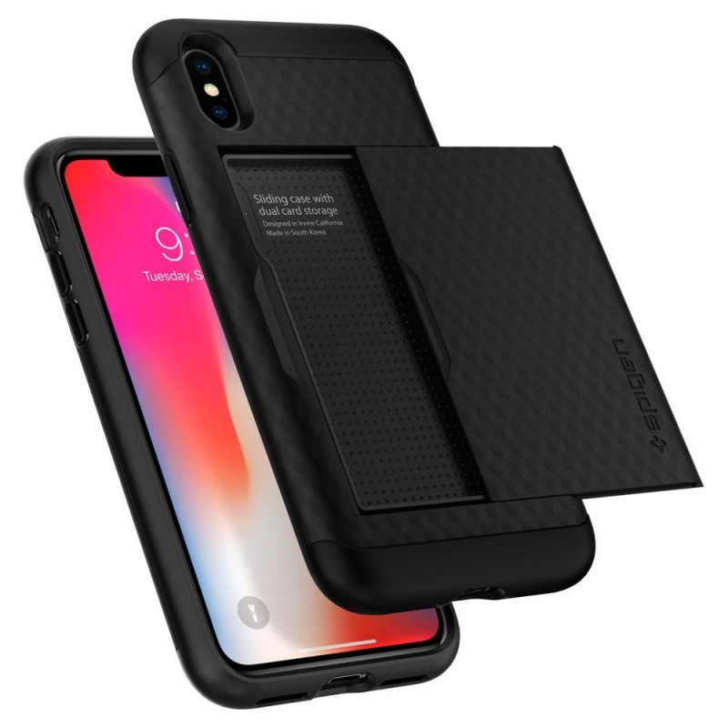 Spigen Crystal Wallet Case iPhone X/Xs Zwart - 2