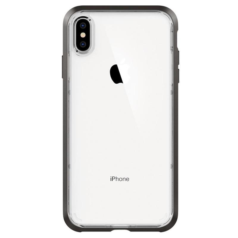 Spigen Neo Hybrid Crystal iPhone XS Max Hoesje Gunmetal Transparant 01