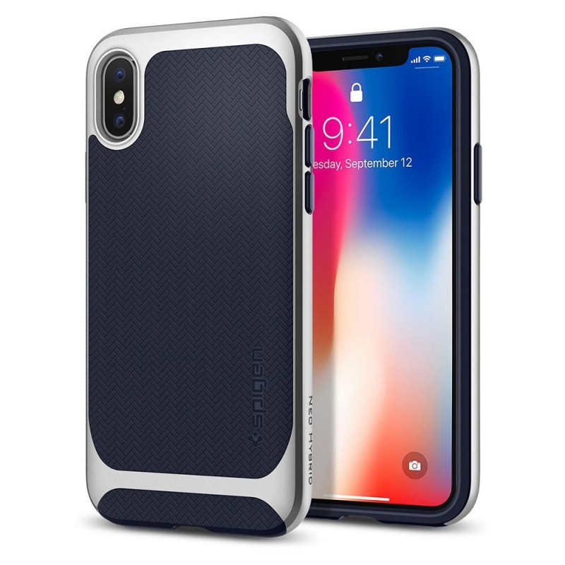 Spigen Neo Hybrid iPhone X Artic Blue/Silver - 1