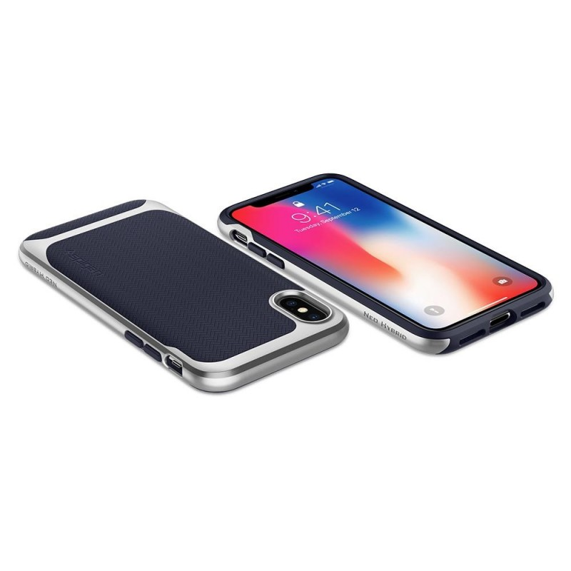 Spigen Neo Hybrid iPhone X Artic Blue/Silver - 4