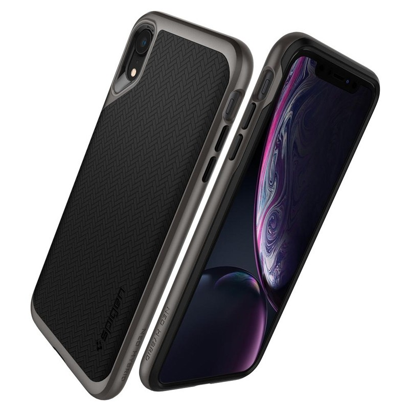 Spigen Neo Hybrid Case iPhone XR Grijs Zwart 06