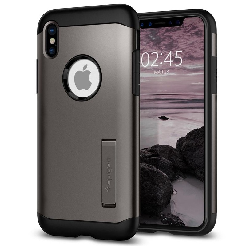 Spigen - Slim Armor iPhone 8 Hoesje Gunmetal 01