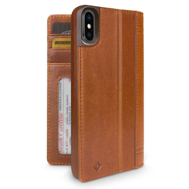 Twelve South Journal Leather Wallet iPhone X/Xs Cognac - 1