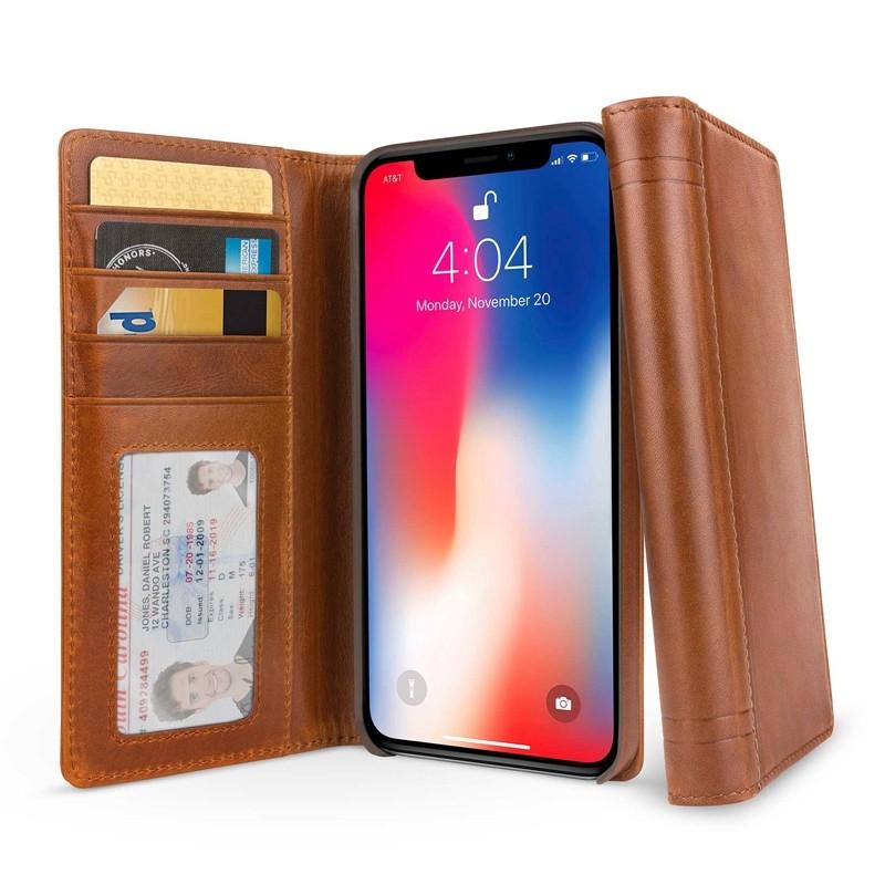 Twelve South Journal iPhone XS Max Hoesje Bruin Leer 01