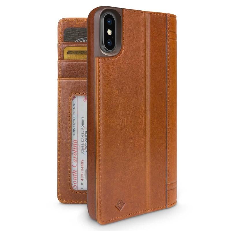 Twelve South Journal iPhone XS Max Hoesje Bruin Leer 02