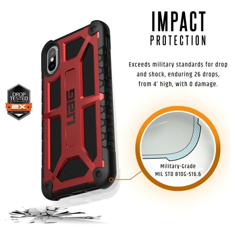 UAG Monarch iPhone X/Xs Hoesje Crimson Red / Black 06