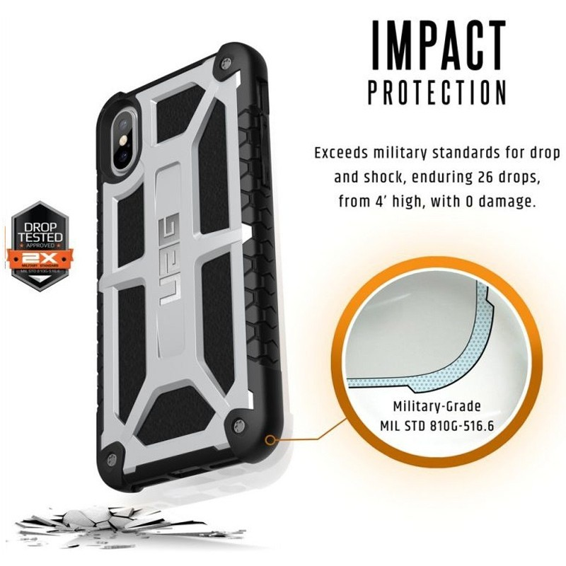 UAG Monarch iPhone X Hoesje Platinum Platina 07