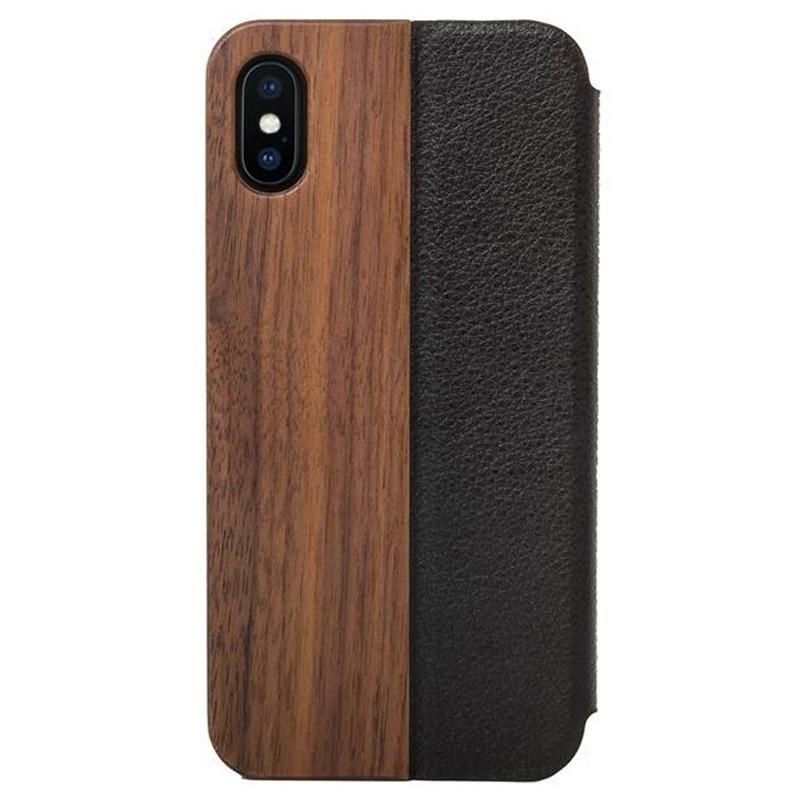 Woodcessories EcoFlip iPhone XR Hoesje Walnoot hout 01
