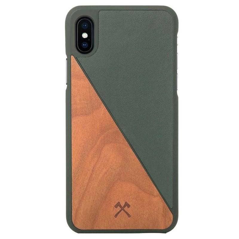 Woodcessories EcoSplit iPhone XS Max Hoesje Kersenhout/Groen 01