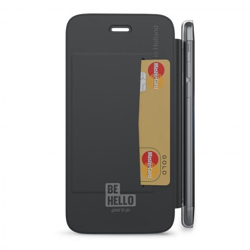 BeHello Clear Back Wallet Case iPhone 8/7/6S/6 Zwart - 3