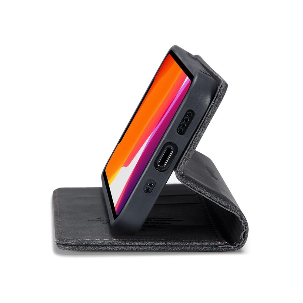 CaseMe Slim Retro Wallet iPhone 12 6.1 inch Zwart - 3
