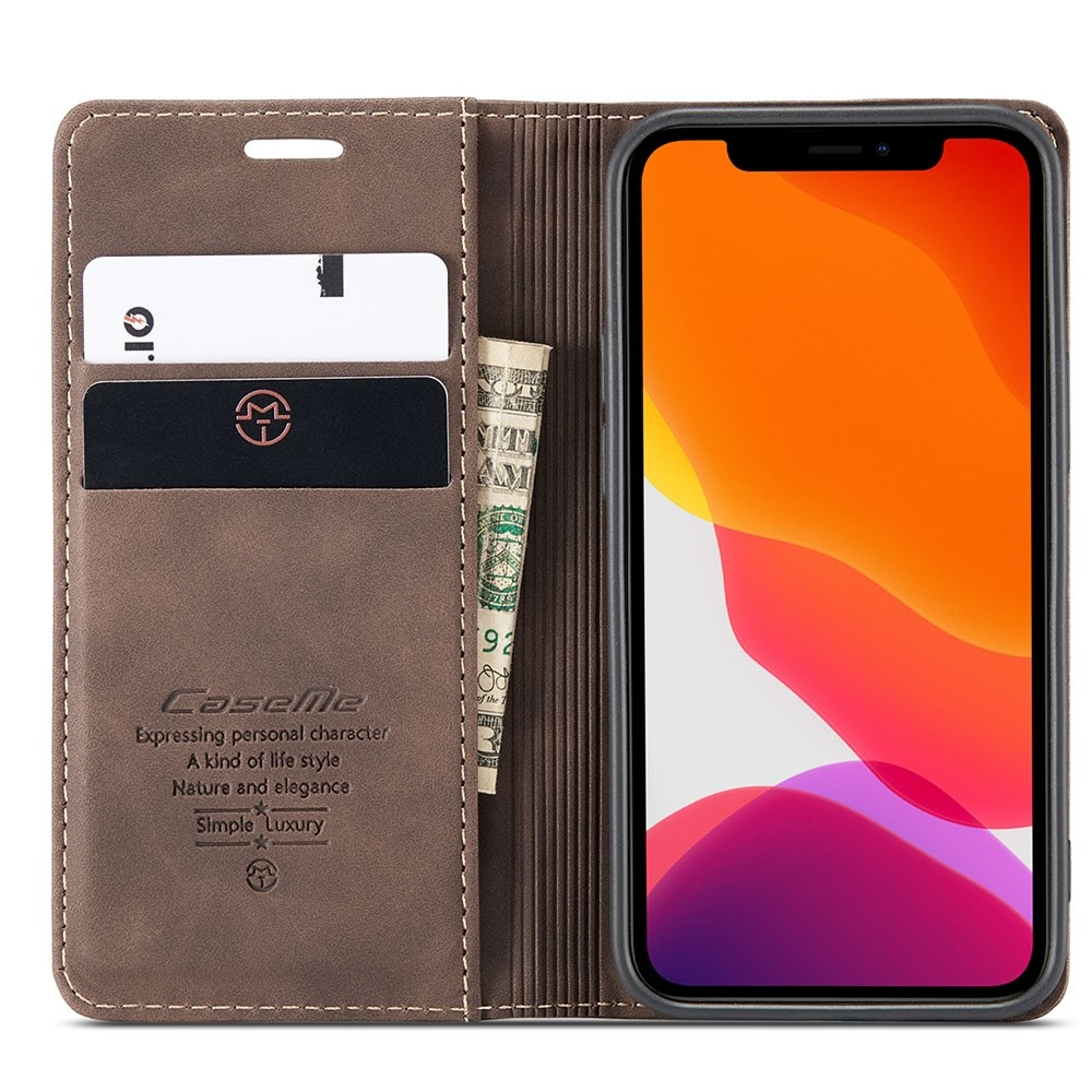 CaseMe Retro Wallet iPhone 12 6.1 inchCoffee - 3
