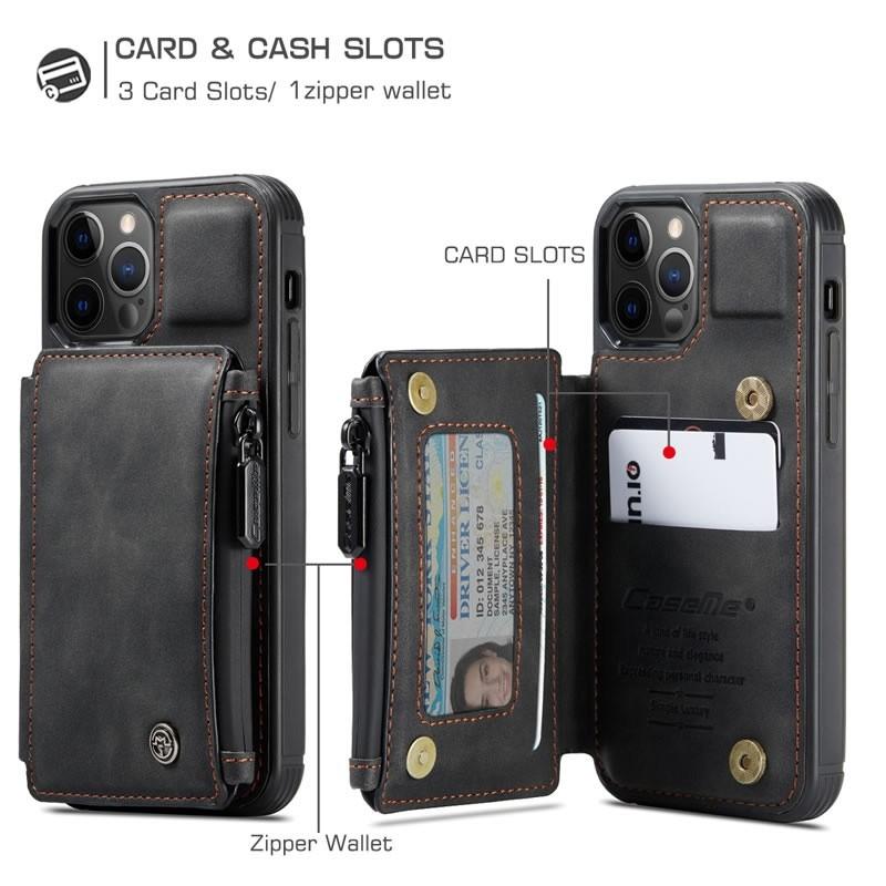 CaseMe Retro Zipper Wallet iPhone 12 - 12 Pro 6.1 inch Zwart 04