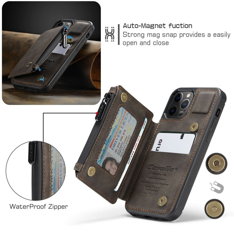 CaseMe Retro Zipper Wallet iPhone 12 - 12 Pro 6.1 inch Donkerbruin 03