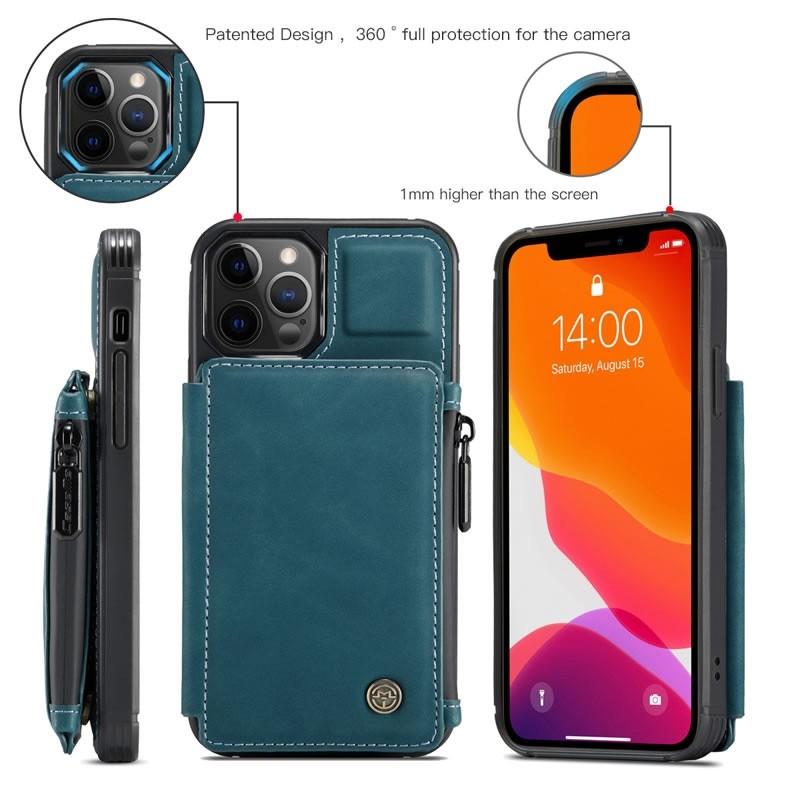 CaseMe Retro Zipper Wallet iPhone 12 Mini 5.4 inch Blauw 03