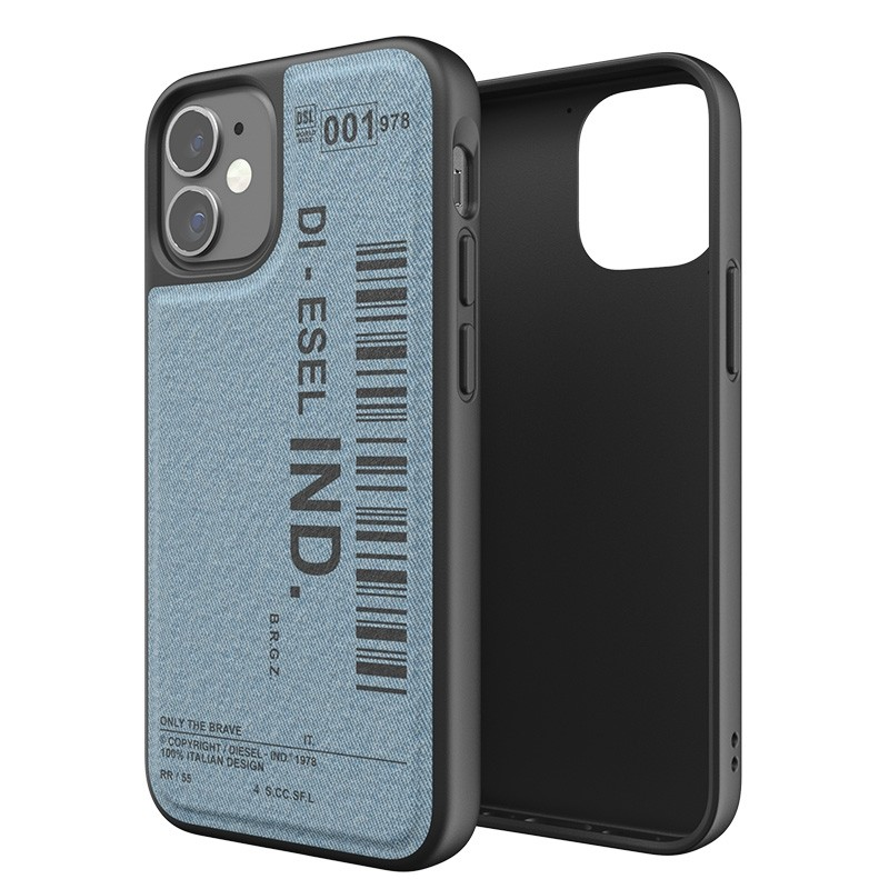 Diesel Moulded Case iPhone 12 Mini blauw/zwart barcode 03