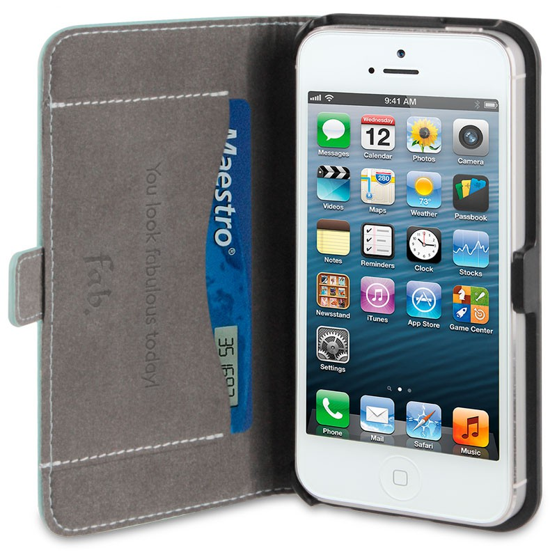 Fab. iPhone 5/5S Folio Studs Aqua - 3
