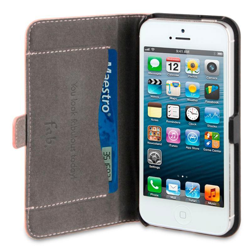 Fab. iPhone 5/5S Folio Studs Salmon - 3