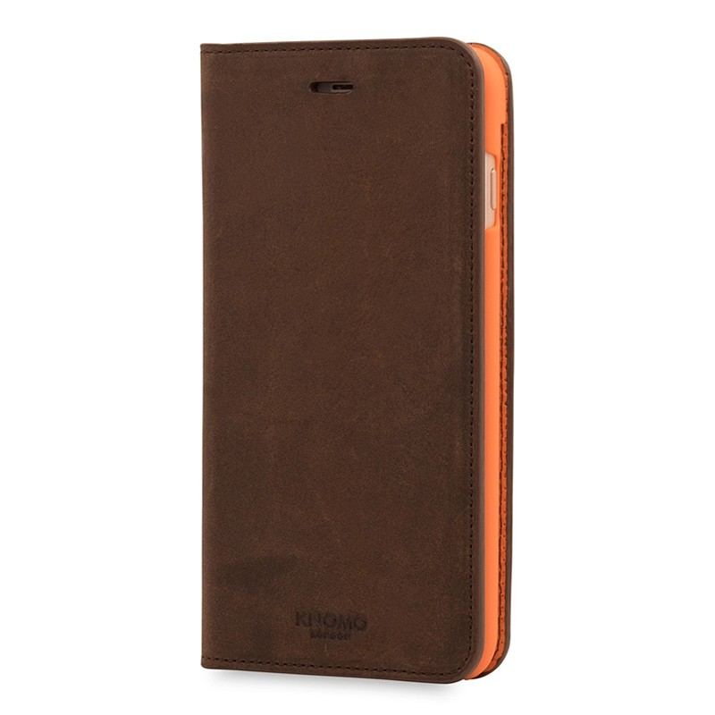 Knomo Premium Leather Folio iPhone 7 Plus Brown 03