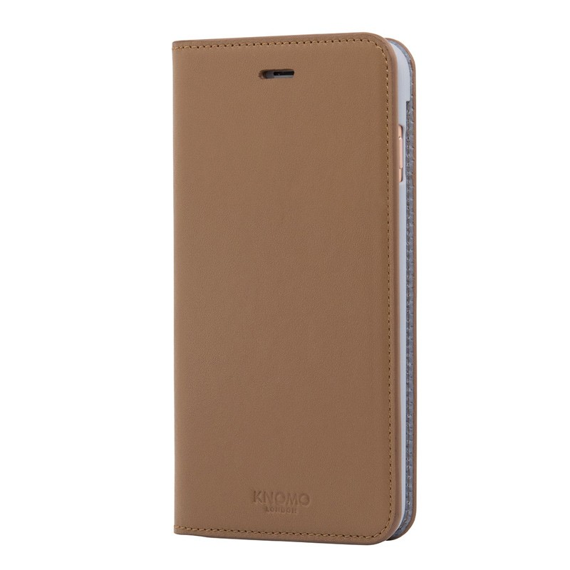 Knomo Premium Leather Folio iPhone 7 Plus Caramel 03