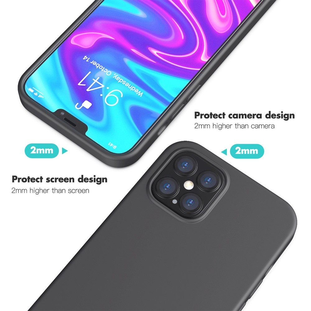 Mobiq Liquid Silicone Case iPhone 12 / 12 Pro Zwart - 3