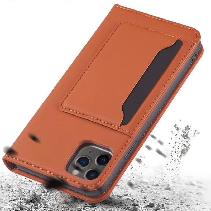 Mobiq Magnetic Fashion Wallet Case iPhone 12 Mini Bruin - 3