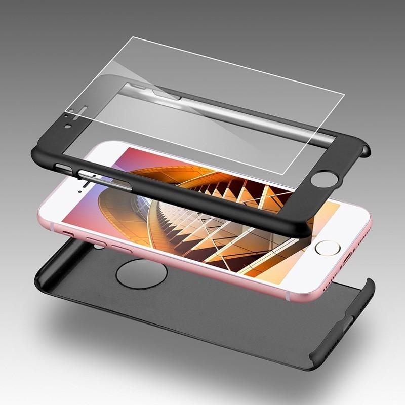 Mobiq 360 Graden Full Body Beschermhoes iPhone 8 Zilver - 1