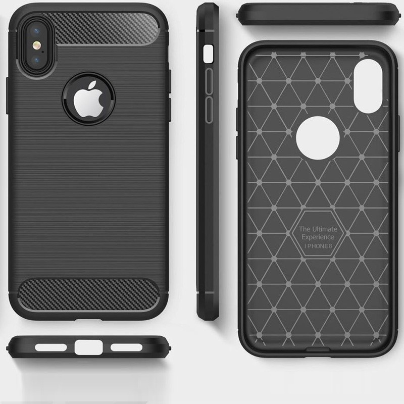 Mobiq Hybrid Carbon iPhone XS Max Hoesje Grijs 03