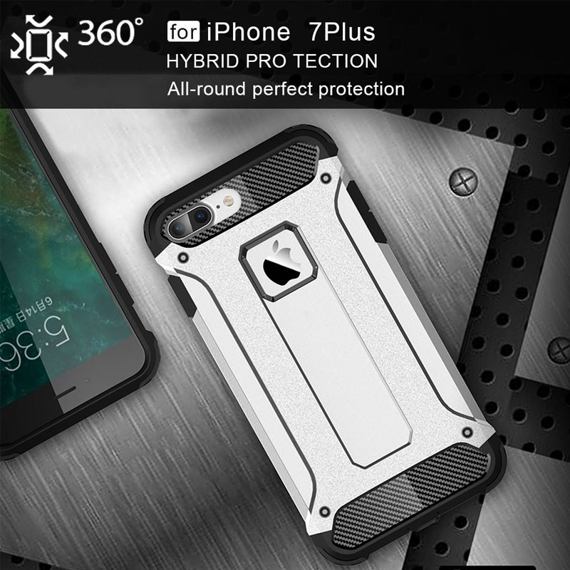 Mobiq - Rugged Armor Phone 8 Plus/7 Plus Hoesje Wit - 3