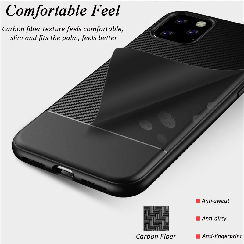Mobiq - Zakelijk Carbon Hoesje iPhone 11 Pro Rood - 3