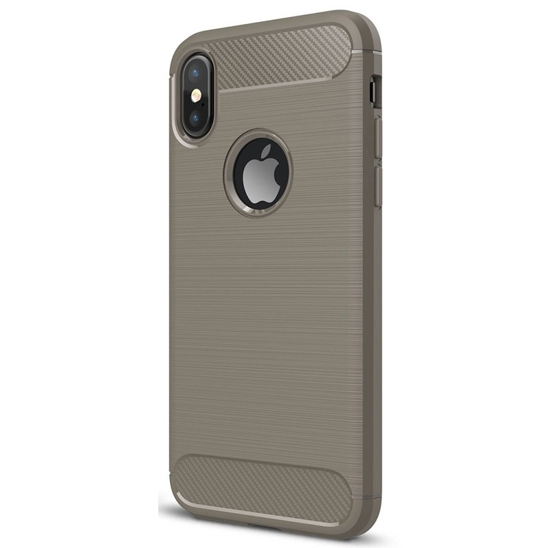 Mobiq - Hybrid Carbon TPU iPhone X/Xs Hoesje grijs 03