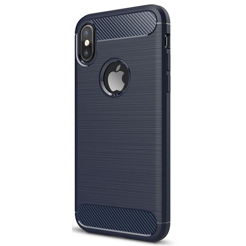 Mobiq - Hybrid Carbon TPU iPhone X/Xs Hoesje blauw 03