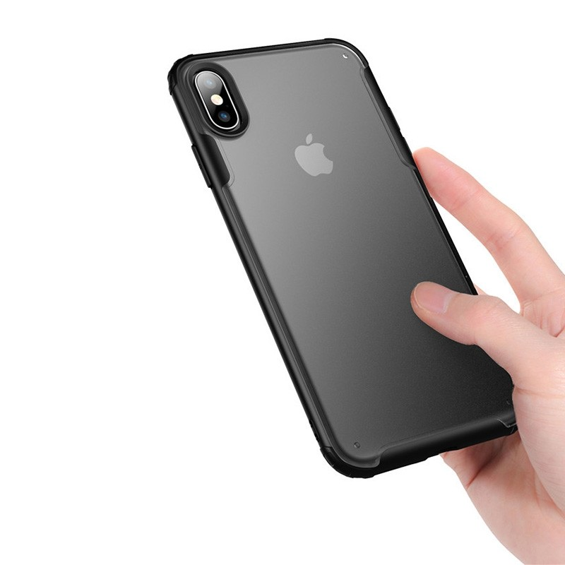 Mobiq - Clear Hybrid Case iPhone X/XS Zwart - 3