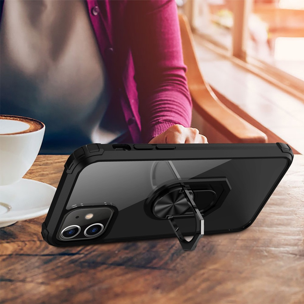 Mobiq Clear Hybrid Ring Case iPhone 12 Pro Max Zwart - 3