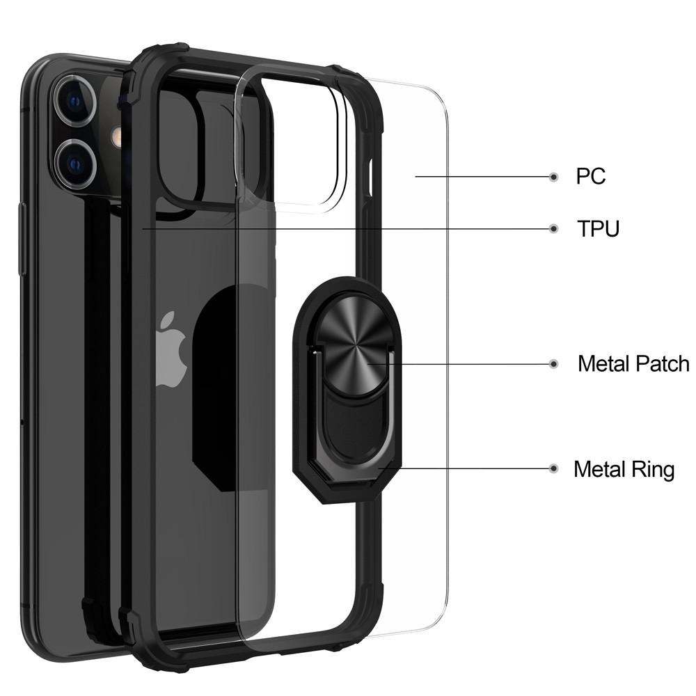 Mobiq Clear Hybrid Ring Hoesje iPhone 13 Zwart - 3