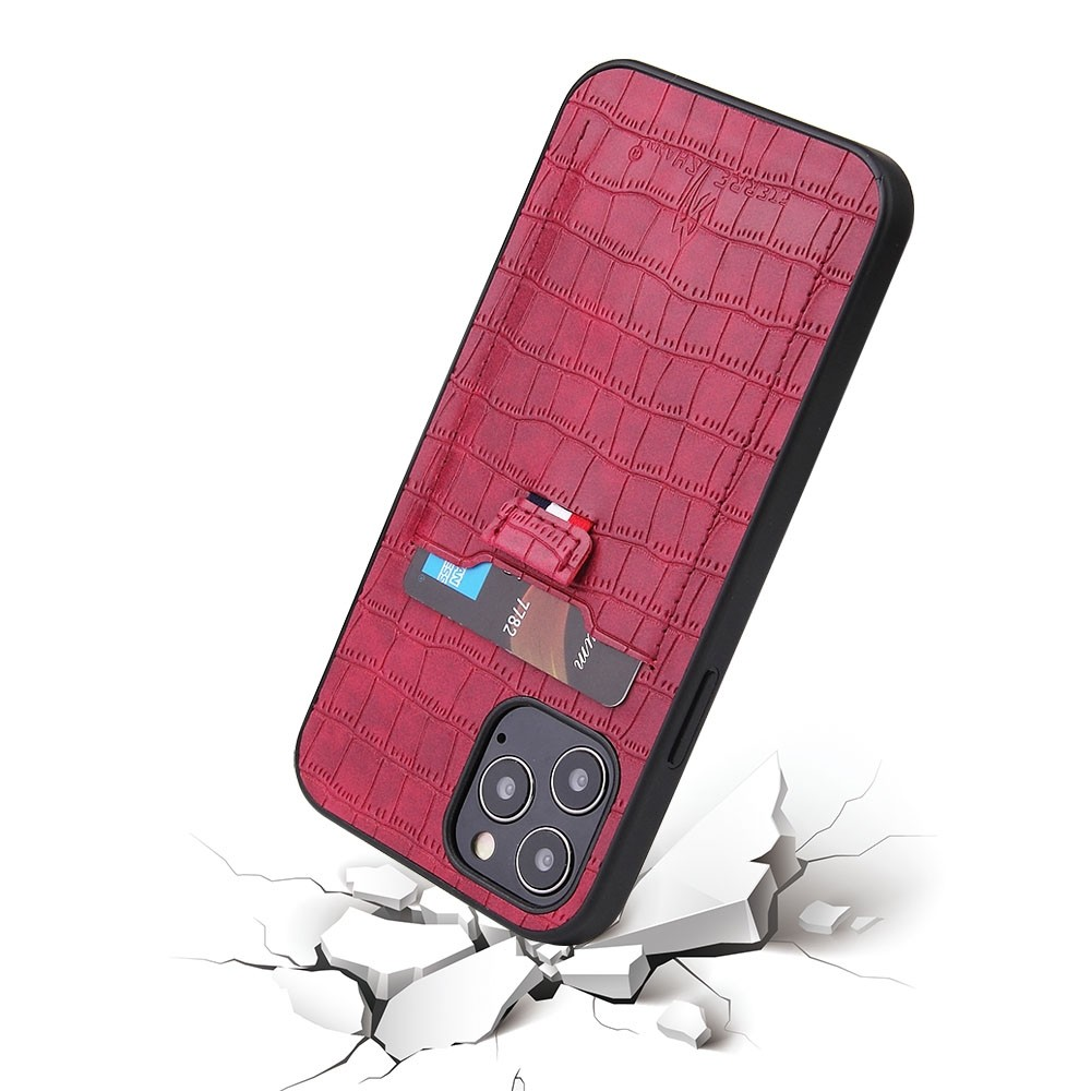 Mobiq Croco Wallet Back Cover iPhone 12 6.1 Rood - 3