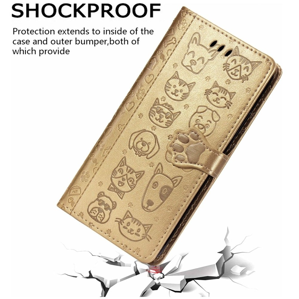 Mobiq Embossed Animal Wallet Hoesje iPhone 12 6.1 Gold - 3